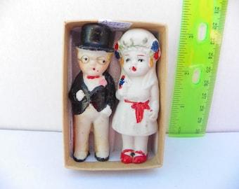 Antique Japan Bisque Bride and Groom , Frozen Charlotte and Frozen Charles , Bisque Doll , Porcelain Penny Dolls , Wedding Cake Topper