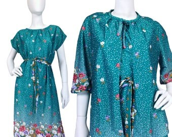 Vintage Clothing, Secretary Dress M L, Teal Dress, 70s Outfit, Dress Set, Floral Dress, Dress w Jacket, 70s Ensemble, Secy Dress, SIZE M L