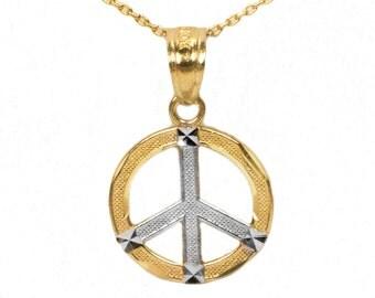14k Yellow Gold Peace Pendant