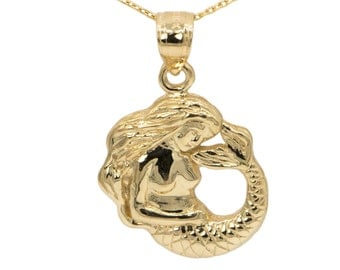 14k Yellow Gold Mermaid Necklace