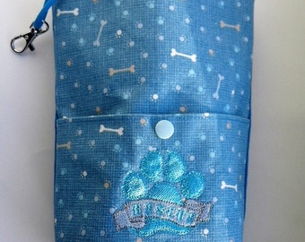 Embroidered treat bag with bone and paw print
