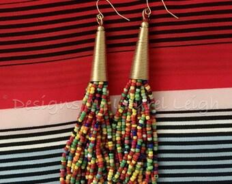 SALE   Multicolor Beaded Tassel Earrings   multicolored, gold, dangle, statement earrings