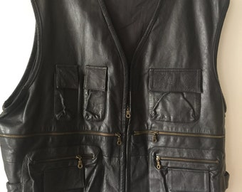 Motorcycle Short Vintage Black Vest From Genuine Leather Durable And Steep Men's Size Large.