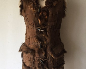 Warm Long Vintage Brown Fluffy Fur And Suede Vest Festive Look Women's Size Small.