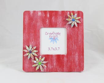 Picture Frame Distressed Red / 3.5x3.5 Photo Frame / Housewarming Gift / Home Decor / Table Decor / Gift for Her/ Rustic Home Decor