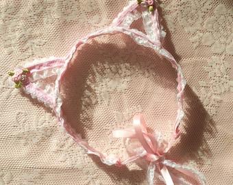Pink Lace Cat Tiara
