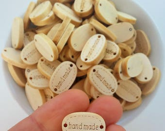 Botones de madera natural Handmade 19mm-Etiquetas Handmade de madera-Natural wooden buttons-handmade labels and tags-Wooden supplies