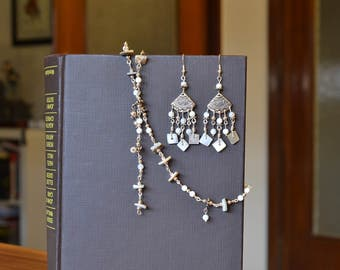 Natural mother of Pearl and shell earrings