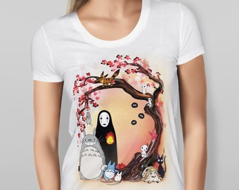 Studio Ghibli Characters Cherry Blossom Tree, girlfriend gift idea, birthday present, anime fan gift