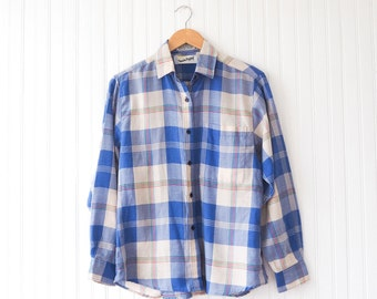 90s Diane von Furstenberg plaid button-up | Vintage DVF casual long sleeve shirt