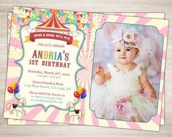 Carousel Birthday Invitation Pink Carousel Invitation Printable First Carnival Invite Pink White stripes Carousel 1st Birthday Party Invite