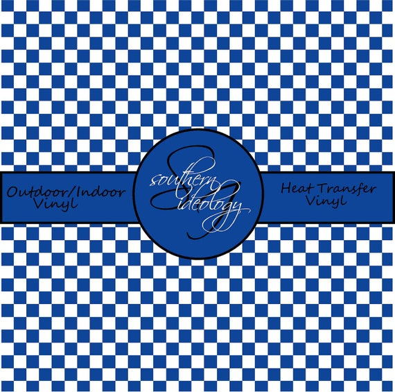 Blue Checkered Patterned Vinyl // Patterned / Printed Vinyl // Outdoor and Heat Transfer Vinyl // Pattern 561