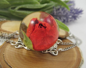 Bracelet Rose dried flowers epoxy resin, natural jewelry gift for her