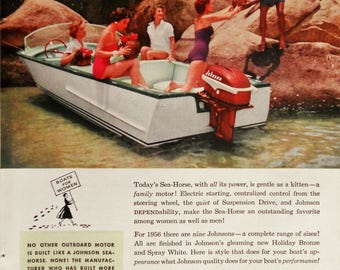 1956 Johnson Sea-Horse ad.  Johnson Sea-Horse outboard motor ad.   Advertising to women.