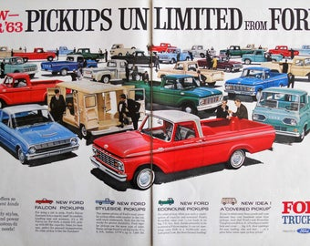 1963 Ford Truck ad.  1963 Ford Pickup ad.  Vintage 1963 Ford Trucks ad.  2 page, full color ad. Life Magazine.  October 19, 1963.