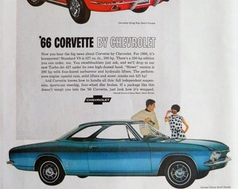 1966 Chevrolet ad.  1966 Chevy Corvette.  1966 Chevy Corvair.  Vintage Chevy ad.