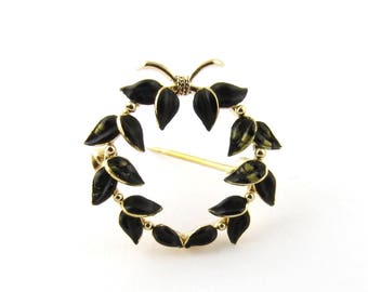 Vintage 14K Yellow Gold and Black Enamel Wreath Brooch Pin #327