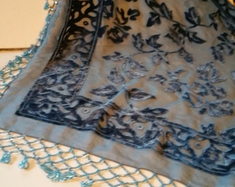 Beaded fringe burnout velvet, blue, shawl or table covering, triangle shaped