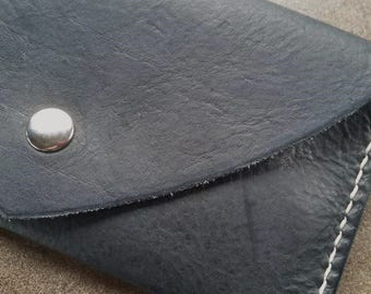 Leather Envelope Clutch - Hand Stitched Leather Clutch - Leather Bag -  Black Genuine Leather Purse - Leather Handbag - Leather Pocketbook