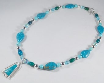 Turquoise w/ Pyrite and Sterling Silver Pendant on a Turquoise/Pyrite and Other Beads Necklace