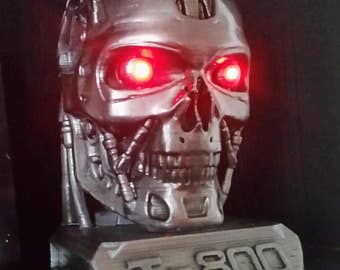 Large Terminator T-800 Skull Head With Red LED Light