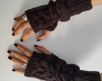Knit wool hand arm warmers, Fingerless fall fashion gloves mittens, Christmas gift for her, winter knitted wool gloves, winter accessories