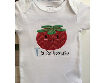 T is for tomato Embroidered Onesie