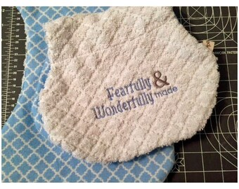Fearfully and Wonderfully Made - Embroidered Burp cloth set of 2