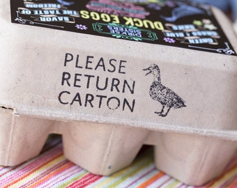 Please Return Carton Stamp - Duck Egg Carton Stamp - Customizable with your Favorite Duck Breed - Return Carton Stamp - Hand-drawn Ducks