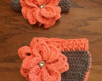 Newborn flower headband and diaper cover