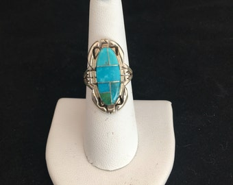 Native American Navajo Turquoise & Sterling Silver Inlay Ring Size 7