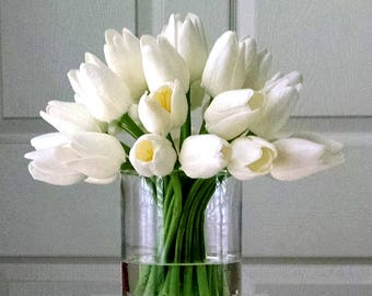 Real Touch Flowers Centerpiece-Mother's Day Gift-Real Touch Tulips-Faux Floral Arrangement-White Tulips-Silk faux arrangement -Fake flowers