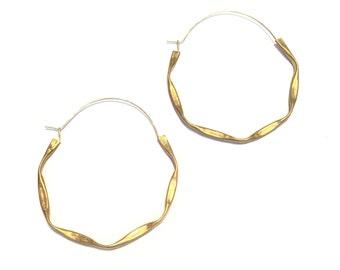 Textured Brass Hoops