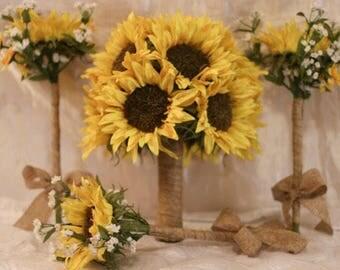 Wedding bouquet set! Sunflower bouquets, free boutonnieres, wedding package, burlap