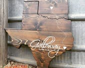 Oklahoma & Texas Wedding Sign | Custom Wedding Guestbook | Wood Stained Wall Sign Art State Wedding Heart Sign Shape Cutout | Red River