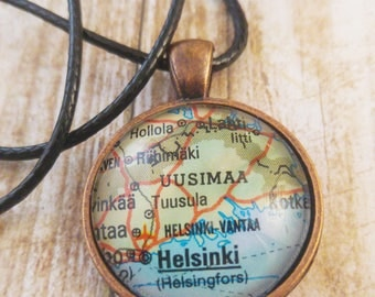 Helsinki, Finland, Suomi Map Necklace, Helsinki Map Pendant, Scandinavian, Nordic Antique Copper Cameo Necklace