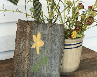Hand Painted Flower on Old Barn Tin