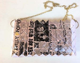 Harry Potter purse, Daily Prophet purse, Recycled Book purse, Eco Friendly purse,candy wrapper purse,Harry Potter Crossbody Bag