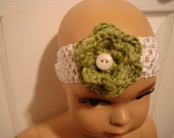 Headband with Flower and Vintage Button. Flower is Hand Crocheted!