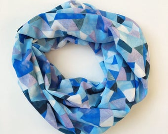 Shades of Blue Mosaic Infinity Scarf