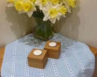 Single Solid Oak Cube Tealight Candle Holder