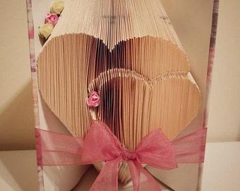 Beautiful handmade two hearts bookfold, book art, bookami , bookfold, bookfolding. Romantic gift, gift for her, home decor, hearts, girly.