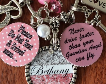 Pink Sweet 16 Gifts, Pink Gifts, Pink Keychain, Personalized Sweet 16 Gift, Sweet Sixteen, New Driver Gifts, Never Drive Faster, Sweet 16