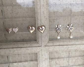 Set of 3 Silver Heart Earrings