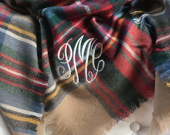 Monogrammed Blanket Scarf