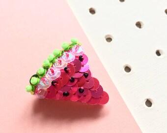 Embellished Sequin Watermelon Brooch, Fruity Pin Badge, Tropical Brooch, Summer Fruit Brooch Pin, Cute Summer Jacket Accessory, Beaded