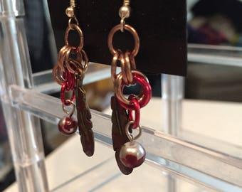 Bronze Feather Bloody Earrings