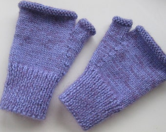Super soft hand knitted fingerless mitts - size S/M