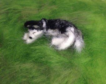 Needle felted Sleeping Husky - Tiny Siberian Husky - Miniature Husky