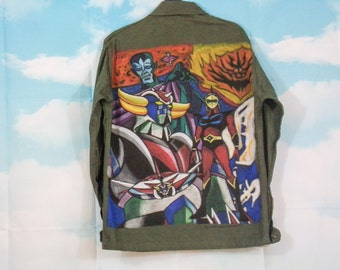 Army style jacket K4U-Créations Pattern Goldorak hand painted M